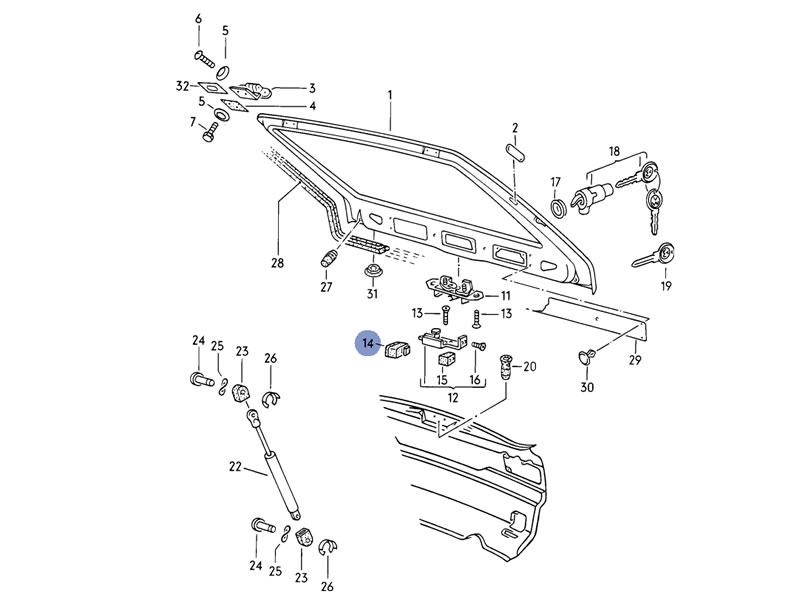 scirocco mk1 genuine vw tailgate hatch striker plate latch