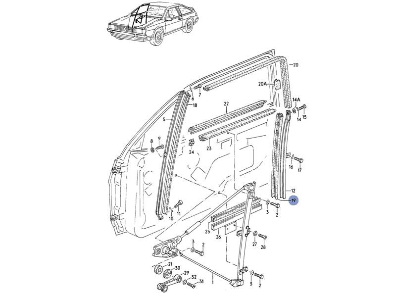 scirocco mk2 genuine vw rear lower window guide seal nos