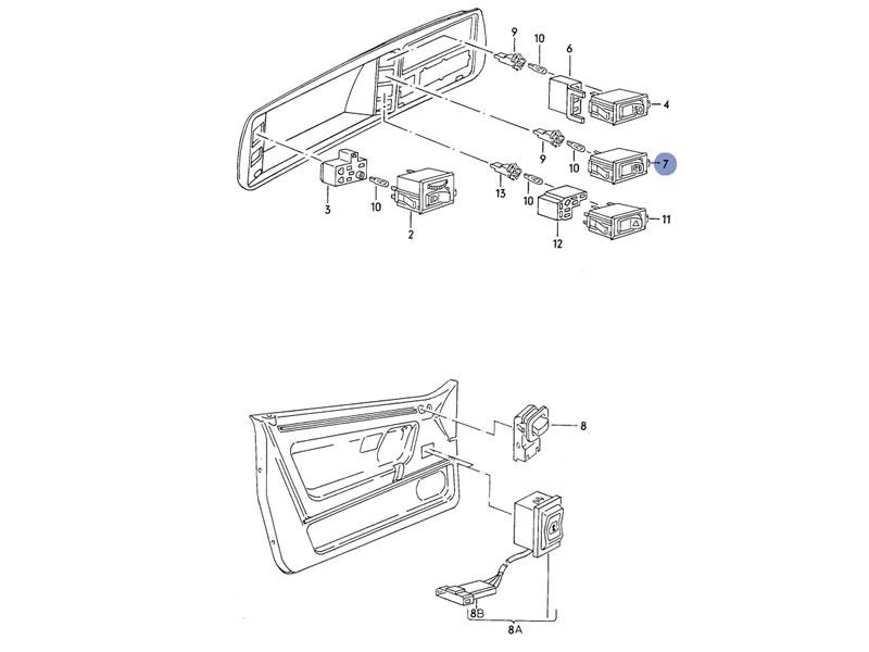 golf mk1 genuine vw defrost switch for rear heated window rhd nos