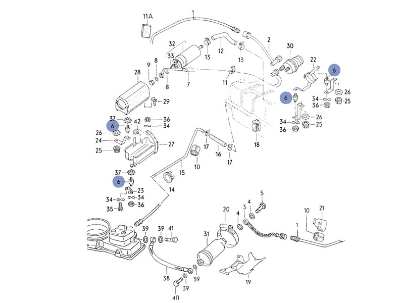 original vw fuel pump sound absorber rubber bush mount