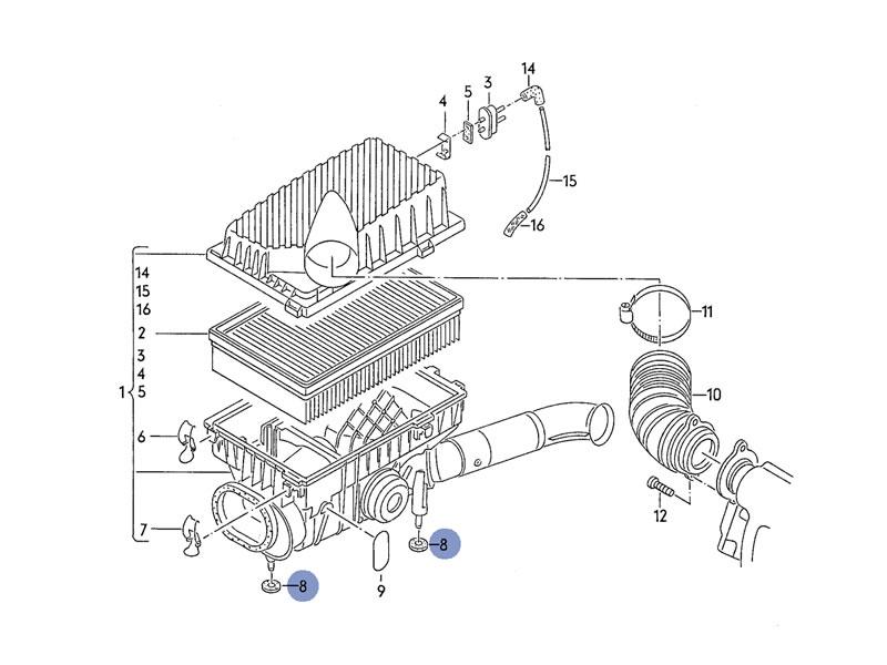 karmann ghia genuine vw air filter radiator rubber bushing