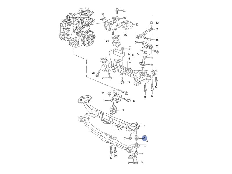 vento genuine vw cross member engine carrier for sale on