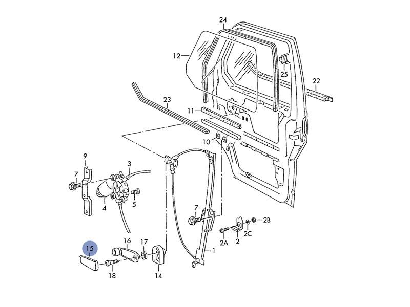 bus t4 genuine vw window winder crank handle cover trim black nos